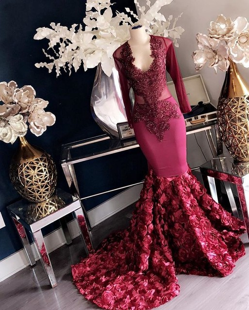 Sexy African Burgundy Prom Dresses Mermaid 2019 Long Sleeve V Neck Beaded Lace Floral Train Prom Party Gowns For Black Girls