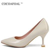 COCOAFOAL mujer barato zapatos de tacón alto punta dedo del pie estilete atractivo negro Beige blanco boda zapatos más tamaño 32-43 bombas 2018