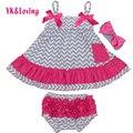 Stripe Baby Girl Clothes Baby Clothing Set Ruffle 0-24M Baby Clothes Set Cotton Set For Newbron original 3PCS 2016
