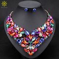 10Color Fashion Rhinestone Bridal Jewelry Set Wedding Prom Party Accessories Gold Plated Necklace Earring Set For Brides Women