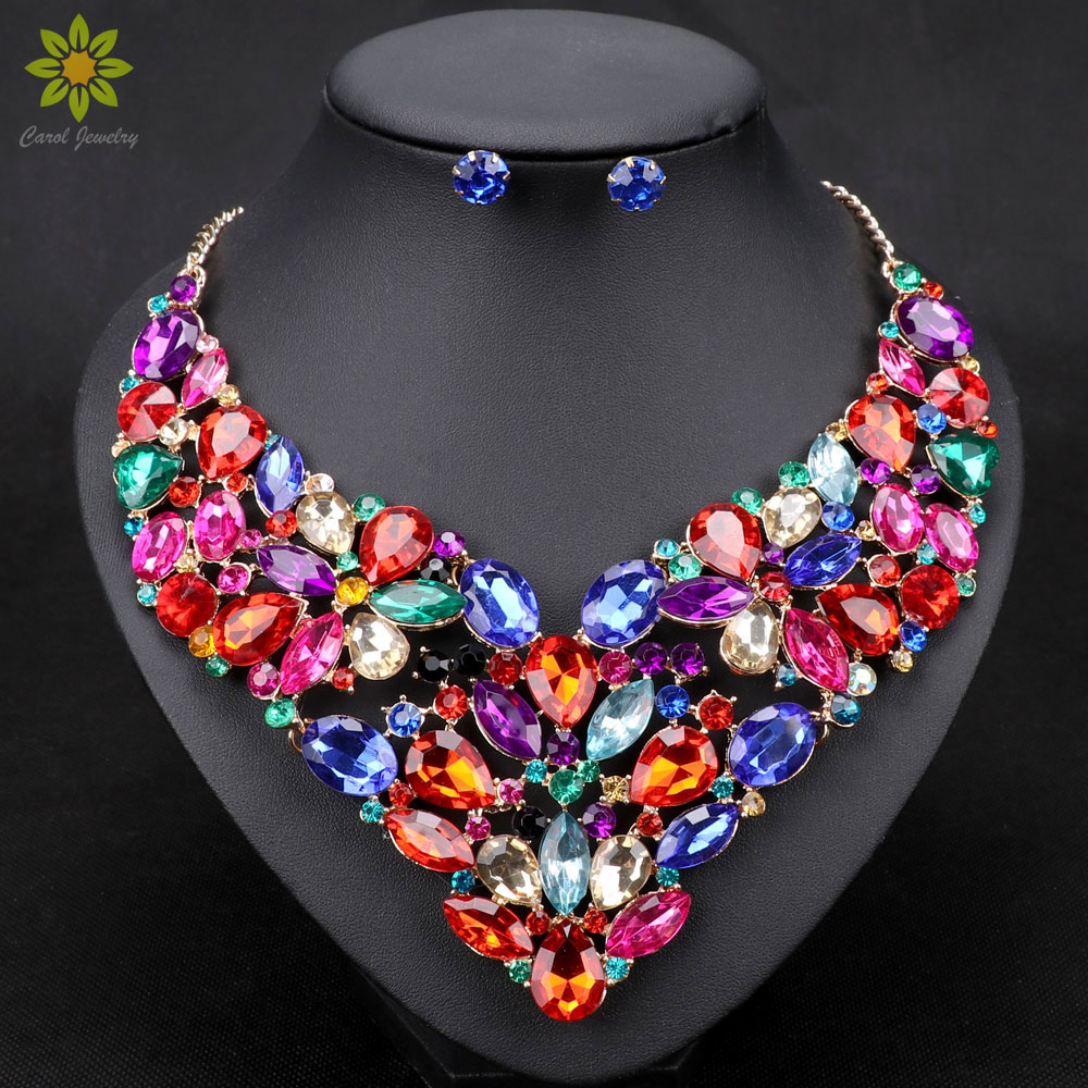 10color Fashion Rhinestone Bridal Jewelry Set Wedding Prom Party  Accessories Gold Color Necklace Earring Set For