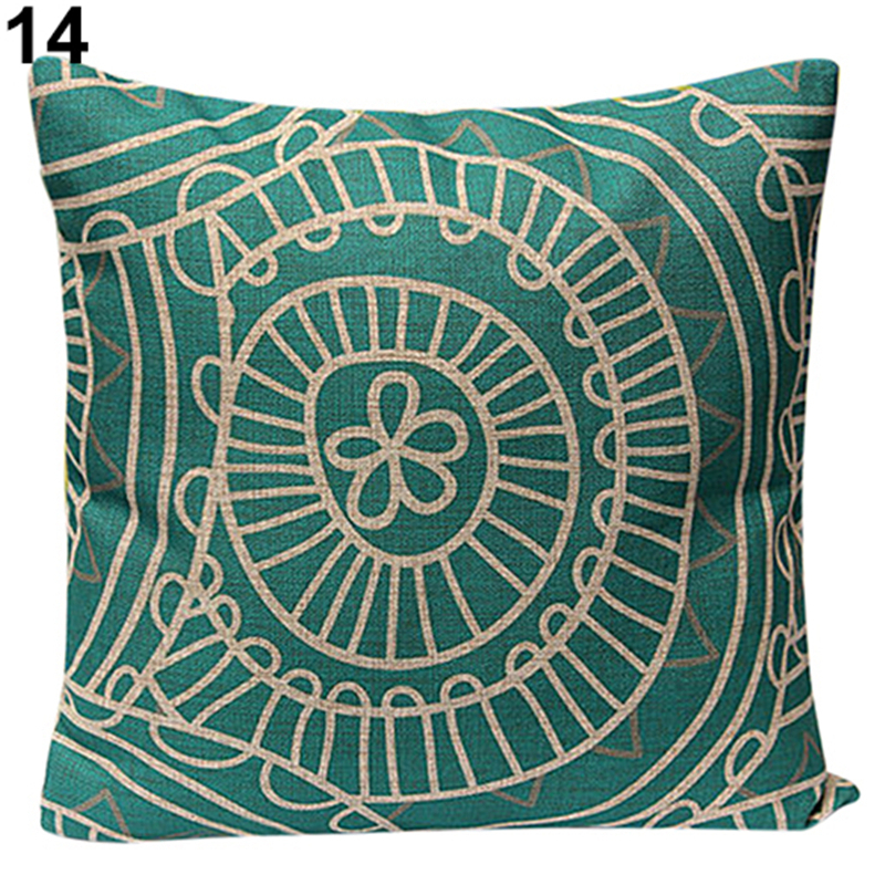 Funda de cojín de lino de algodón de Navidad de 45x45 cm para sofá de casa funda de cojín de flores geométricas Vintage suave
