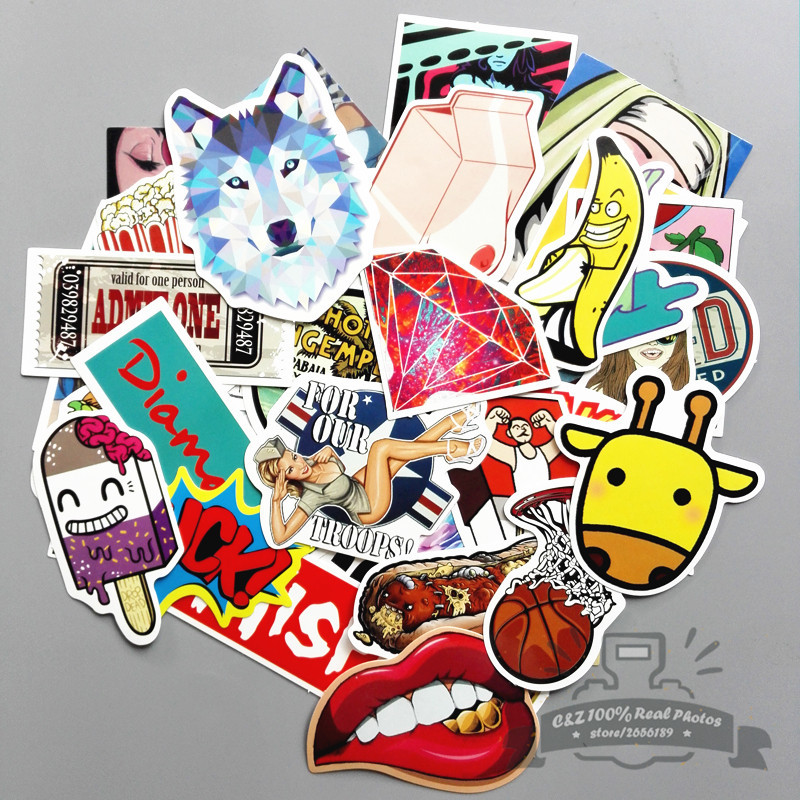 50 pcs/set Fashion Personality Anime Rock Style animal mischievous luggage graffiti stickers tag creative toy suitcase paster