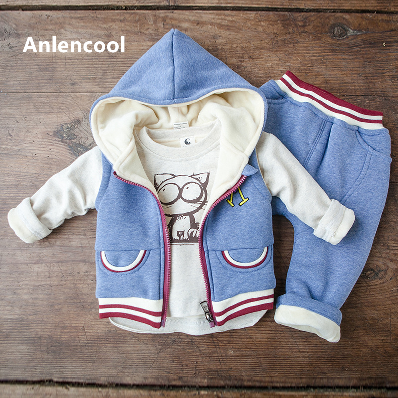ФОТО Anlencool 2017 Baby winter sweater clothes color cartoon cat fleece three piece set of foreign trade baby boys clothes set
