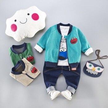 fc63248c7f3 Conjunto de ropa de otoño para bebés, conjuntos de ropa para niños,  chaqueta de monstruo + Camiseta + Pantalones 3 piezas para bebés y niños  traje deportivo ...