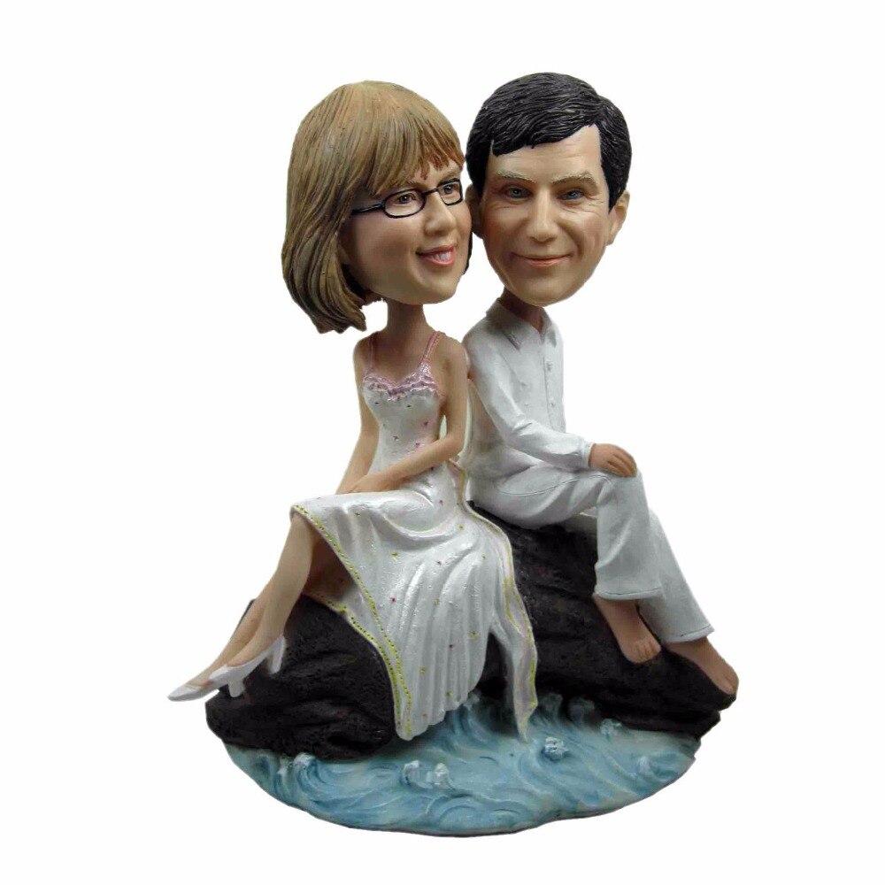 Livraison gratuite Express poupée bobblehead personnalisée près de la plage cadeau de mariage décoration de mariage poupée personnalisée en polyrésine