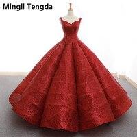 Mingli Tengda золото распыления Blingbling кружева красное платье Quinceanera роскошное бальное платье Милая принцесса сладкий 16 платья