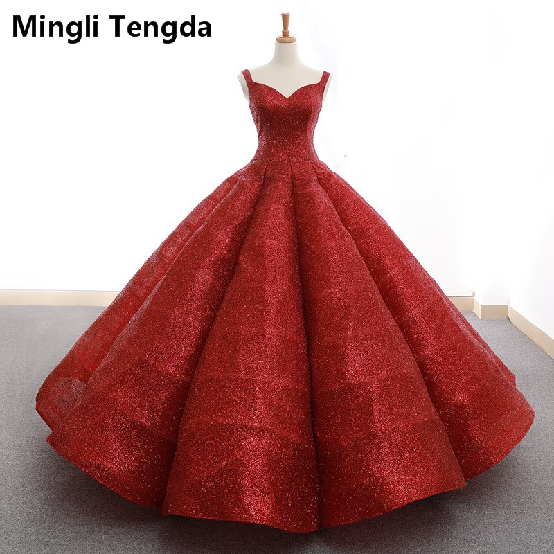 Mingli Tengda Gold spraying Blingbling Lace Red Quinceanera Dresses Luxurious Ball Gown Sweetheart Princess Sweet 16 Dresses