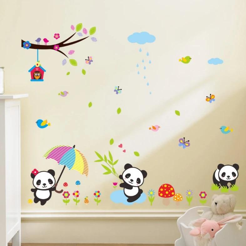 autocollants muraux en vinyle panda bambou stickers muraux en vinyle pour enfants papier peint pour chambre d enfant stickers d art mural pour