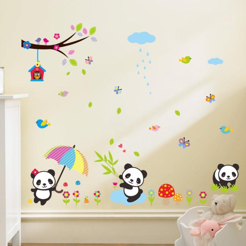 US $8.01 48% OFF|Panda Bambus Vögel Cartoon Vinyl Wandaufkleber Für  Kinderzimmer baum Himmel Wandtattoo Kinder Wallpaper Nursery Decor  Wandkunst ...