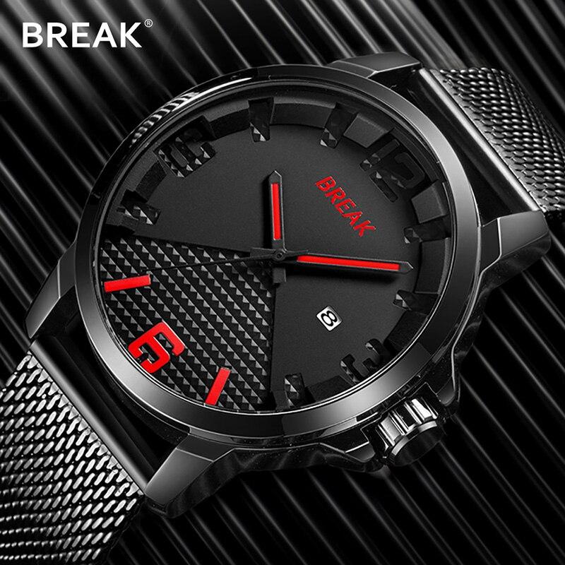 33f5be2153c QUEBRAR Calendário Pulseira de Relógio Dos Homens Do Esporte relógio de  Pulso de Aço Inoxidável Relógios Quartzwatch Relógio Moda Masculina Relogio  Masculi