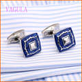 Hot Square Blue Enamel Cufflinks Gold Cuff links Designer Shirt Cufflinks Gemelos Wedding Cuffs Boutons Collar Studs V172