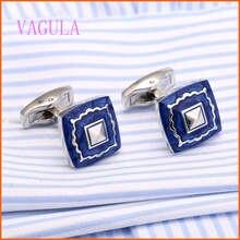 Hot Square Blue Enamel Cufflinks Gold Cuff links Designer Shirt Cufflinks Gemelos Wedding Cuffs Boutons Collar Studs V172