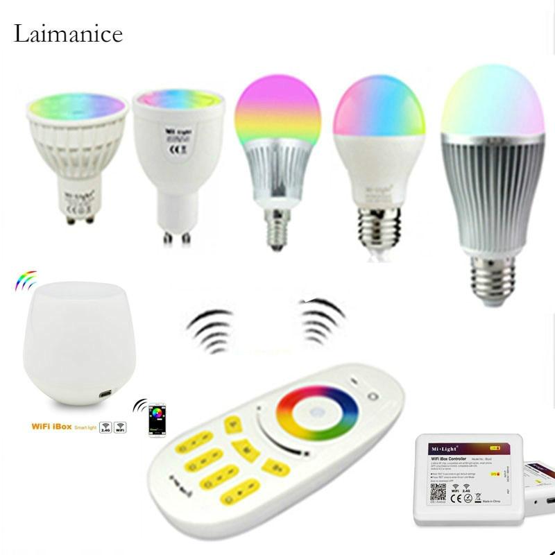 Mi.light 2.4G Wireless Remote Led Bulb MR16 GU10 E14 E27 Smart Lamp 4W 5W 6W 9W 12W RGBW/RGBWW/RGBCCT WIFI APP Controller zigbee bridge led rgbw 5w gu10 spotlight color changing zigbee zll led bulb ac100 240v led app controller dimmable smart led