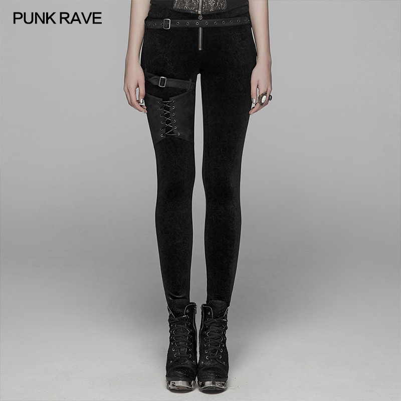 PUNK RAVE Women's Steampunk Lacing Leggings With Straps Gothic Black Flower Velvet Women Pants Trousers Personality Street Wear