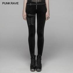 PUNK RAVE Women's Steampunk Lacing Leggings with Straps Gothic Black Flower Velvet Women Pants Trousers Personality Street Wear