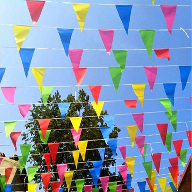 Free Shipping 80 meters handmade Fabric Bunting Triangle flags wedding Festival Pennant String Banner Buntings Colorful(China)
