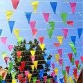 Frete grátis 80 metros feito à mão tecido bunting triângulo bandeiras festival de casamento galhardete string banner buntings colorido