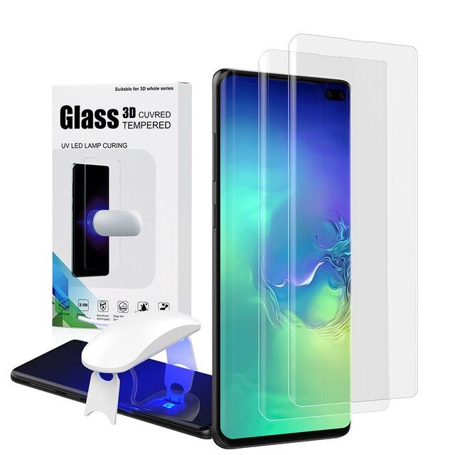 UV サムスンギャラクシー S10 プラススクリーンプロテクター強化ガラス S10 S10Plus 湾曲したカバーフィルム S10 +