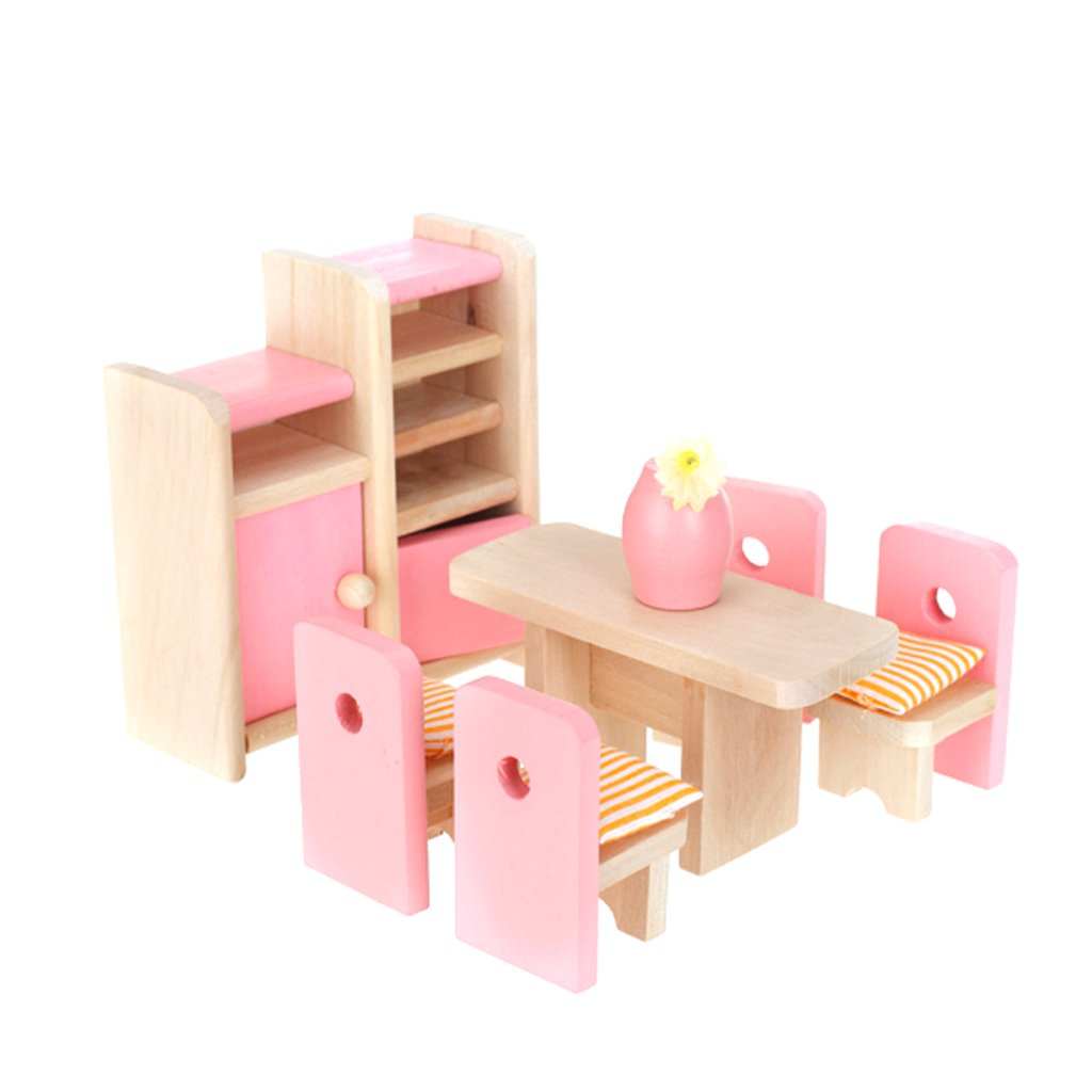 Wooden Dollhouse Dining Room Furniture Set Doll House Accessories Decoration Pretend Play Role Playing Game Children Toys Gift