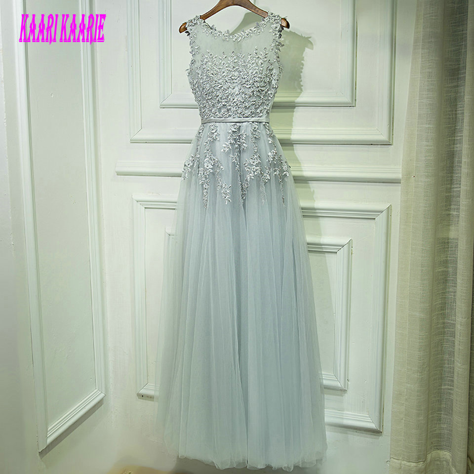 Sexy Silver   Prom     dresses   Long 2019 New Formal   Prom     Dress   Scoop Tulle Beading Pearls Zipper Women Evening Party Gown Custom Made