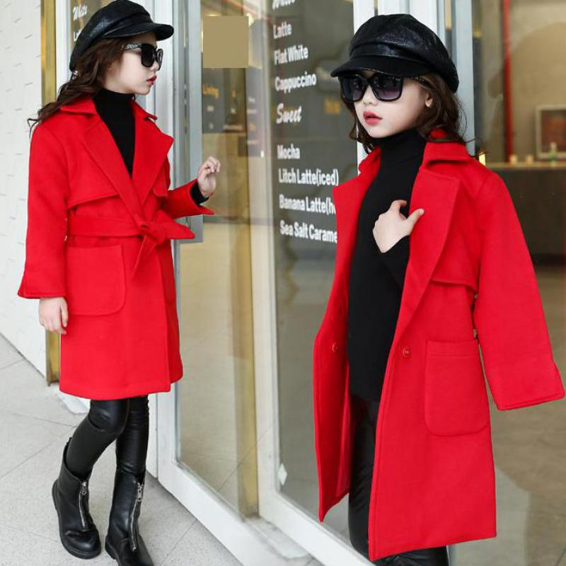 2017 New Fashion Winter Girl Coat Long Sleeve Coat Long Sections Children Clothing Kids Clothes Coat Wool Coat For Girls Costume