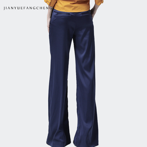 Image 4 - 2019 الصيف المرأة لينة الحرير السراويل السراويل عالية الخصر واسعة الساق جيب مطوي عادية الشارع الشهير سروال فستان للنساء