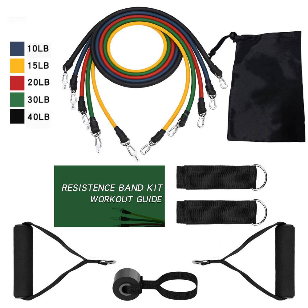 Resistance Band 11pc Set With Door Anchor, Ankle Straps, Foam Handles & Resistance Band Carrying Case Fitness Workout