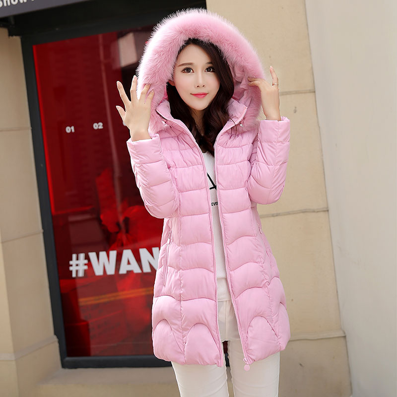 Plus Size Winter Long Coat Women Solid Fur Collar Jacket Parkas Hooded Cotton Padded Jackets Slim Thick Wadded Outerwear Tops