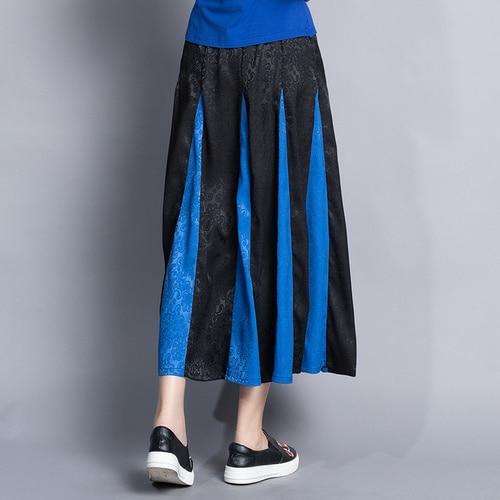 Photo Faldas Vintage Con Patchwork Étnico Mujer Bordado Chino Plisada Artístico Elástica Midi Estilo De Color Cintura Falda wO0HZqx