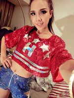 Fashion Hip Hop Sequins Stars Red Shirt Blue Short Clothing Set Stage Jazz Dance Nightclub Singer