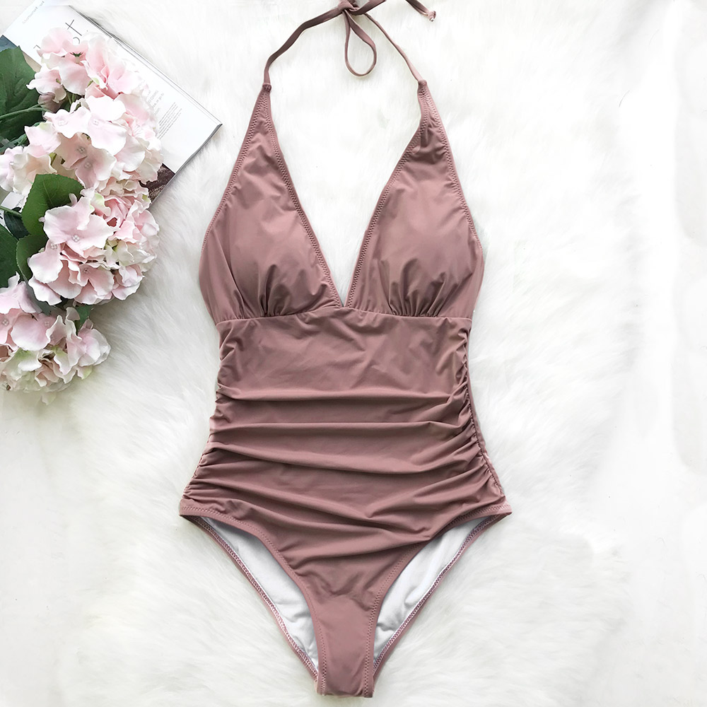 Cupshe Pink Dawn Mist Shirring One-piece Swimsuit Women Sexy Halter V-neck Plain Monokini 2018 Summer Female Beach New Swimwear цена 2017