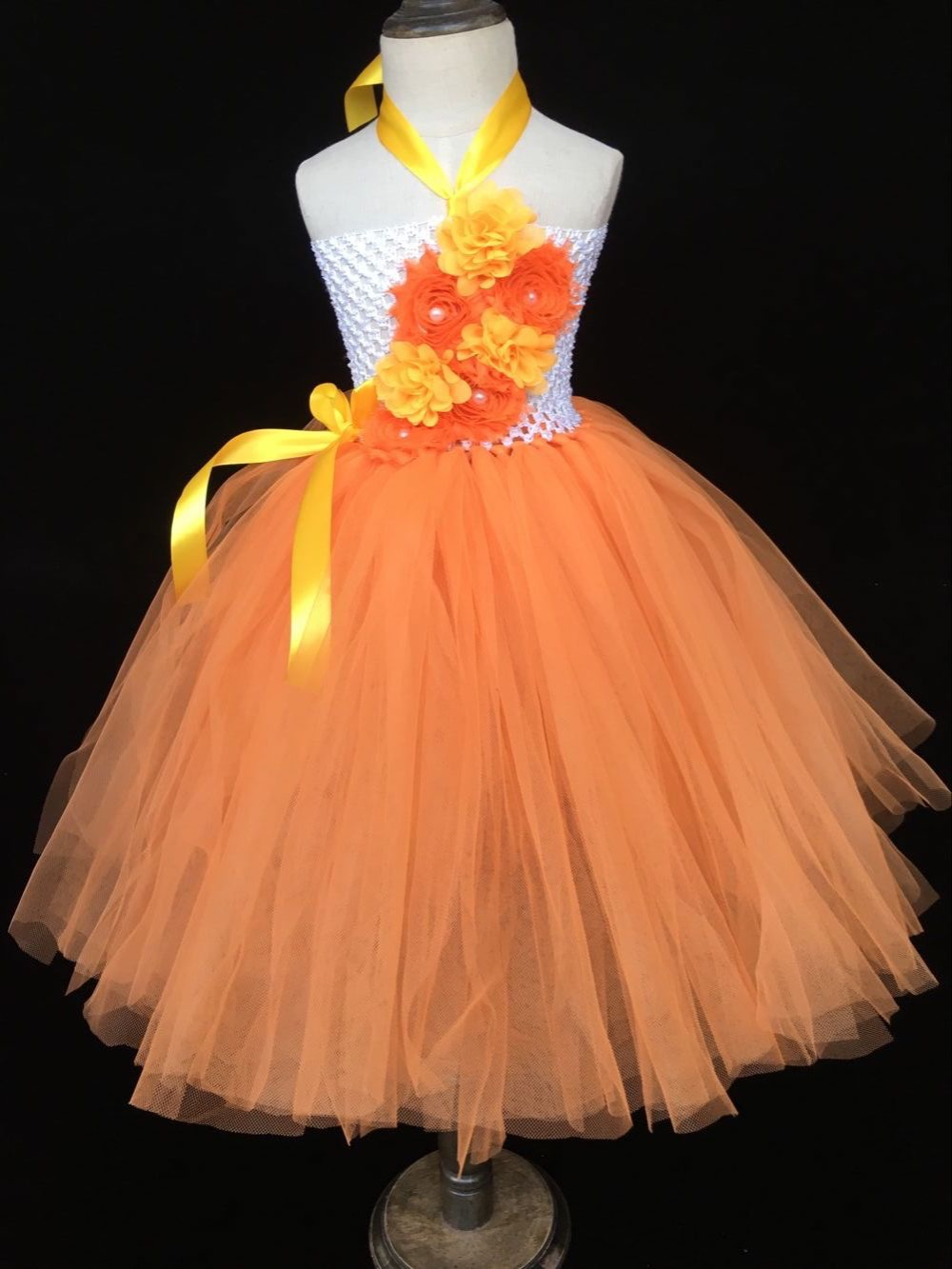 52f2f0f563c6c Baby Girls Orange Flower Tutu Dress Kids Crochet Tulle Dress Ball Gown with  Ribbon Bow and Headband Children Wedding Party Dress