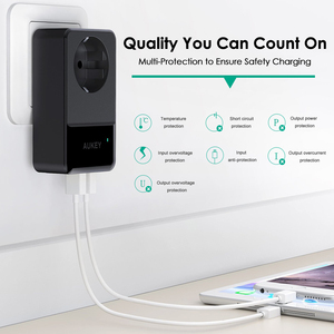 Image 2 - AUKEY 4 Ports Mini USB Charger 16A Wall Socket Charger + 30W 4 Smart USB Mobile Phone Fast Charger for iPhone X Samsung Xiaomi