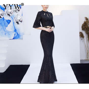 Red Sequined Luxury Evening Dress Women Half Sleeve Hollow Mermaid Long Party Dress Bodycon Elegant Prom Gown Sexy Club Dresses 5