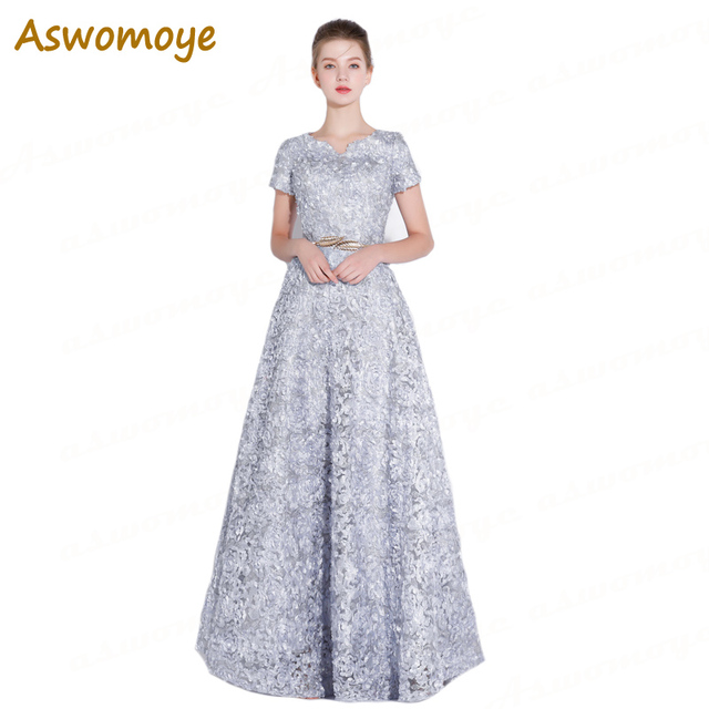Lace Evening Dress 2018 New Stylish Floor Length Short Sleeve Formal Dresses  Banquet Dresses Sashes Custom Size robe de soiree 02c145730dc0