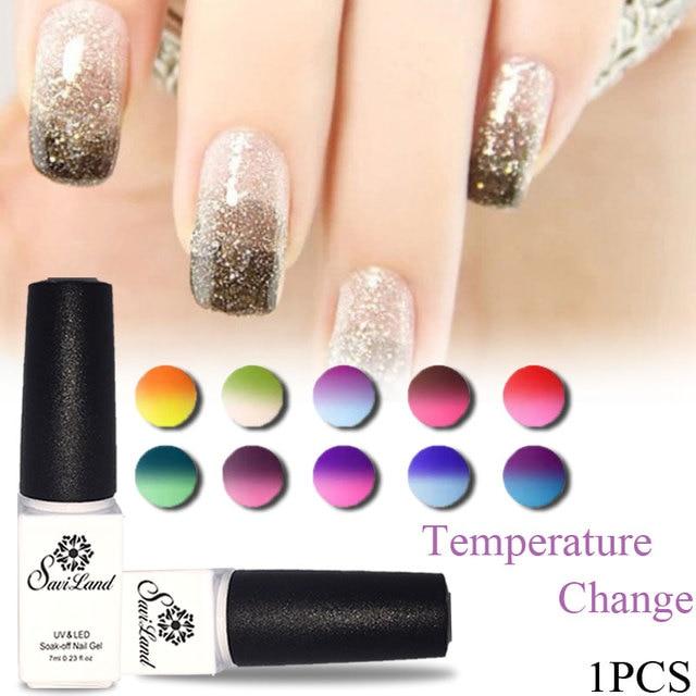 Saviland Mood Changing Uv Gel Chameleon Temperature Change Color Varnish Soak Off Polish Long