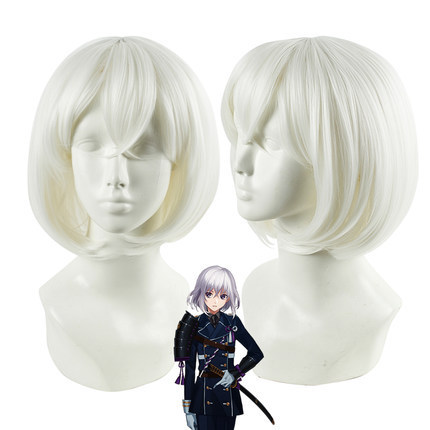 2016 New Arrival 35cm short white Hair Touken Ranbu Online Honebamitoushirou cosplay wig