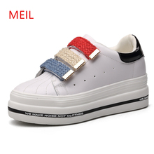 2019 Spring Designer Wedges White Shoes Female Platform Sneakers Women Tenis Feminino Casual Female Shoes Woman Cowhide Sneakers spring designer wedges white platform sneakers women shoes 2019 tenis feminino casual air mesh female shoes woman basket femme