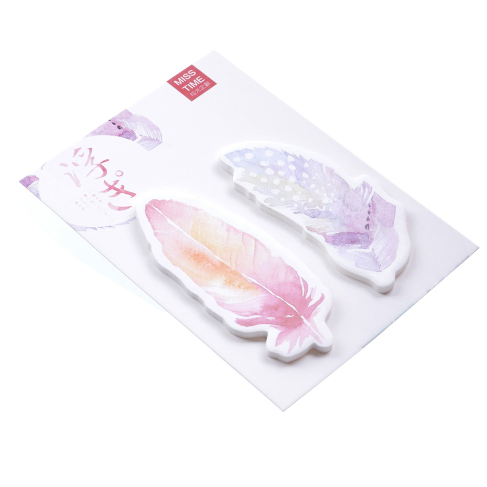 30Sheets/pack Colorful Feathers Cute Bookmarks Stickers Post Memo Pad Sticky Notes ...
