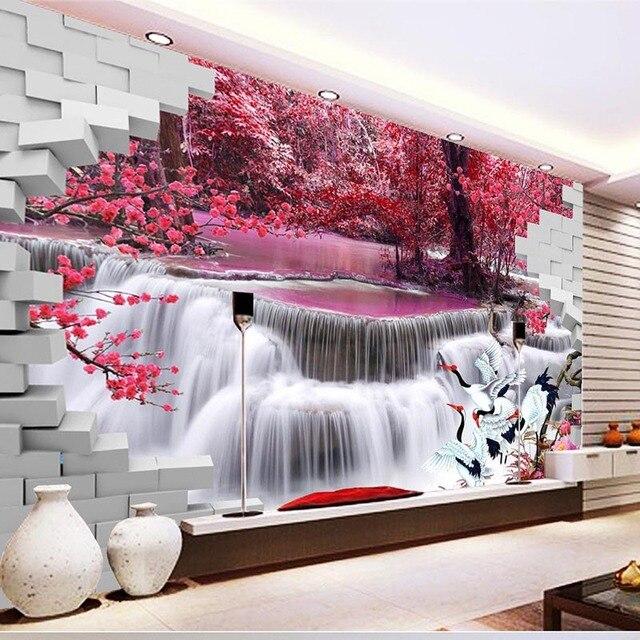 Bonito e Moderno HD Guindaste Cachoeira Murais Paredes Não Tecido Papel De Parede Quarto Sala de estar Sofá TV Pano de Fundo Decoração #226