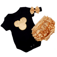 2017 New Christmas 3pcs Infant Cute Baby Bebe Girl Minnie Christmas Santa Bodysuit Headband Shorts Outfit