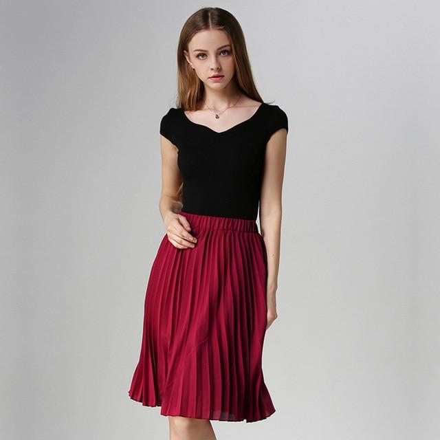 ANASUNMOON Women Chiffon Pleated Skirt Vintage High Waist Tutu Skirts Womens Saia Midi Rokken 2016 Summer Style Jupe Femme Skirt 4