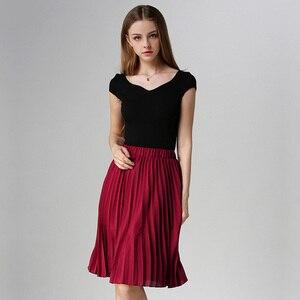 Image 4 - ANASUNMOON 여성 쉬폰 플리츠 스커트 빈티지 하이 웨스트 투투 스커트 여성 Saia Midi Rokken 2020 Summer Style Jupe Femme Skirt
