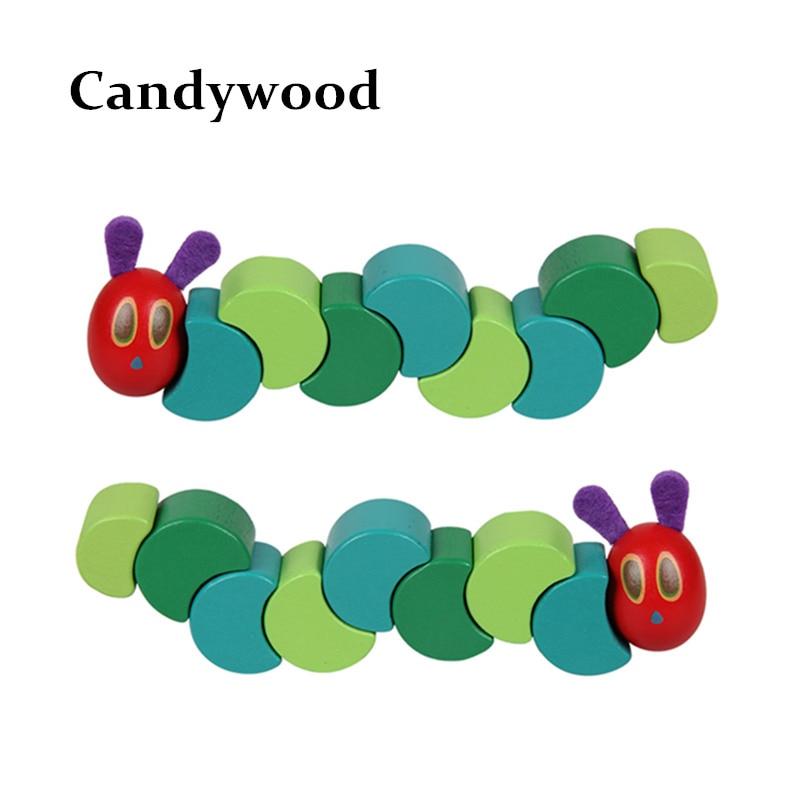 Montessori a nagyon éhes Caterpillar játékok gyerekeknek Fa blokkok Gyerekek T ujjak Rugalmas blokkok