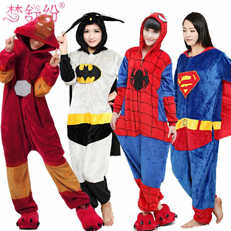 Новинка 2017 года фланелевые пижамы для взрослых все в одном Пижама супер  герой взрослых зима Железный 806c297b13c95