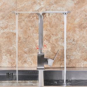 Image 3 - Mitigeur chaud froid, robinet de cuisine en Nickel brossé rotatif à 360 degrés montage sur pont, robinet pour cuisine à levier unique un trou, grue de cuisine salle de bains
