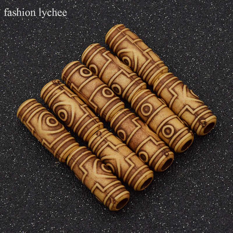 Fashion litschi 10 stücke Holz Haar Dreadlock Perlen Schöne Flechten Haar Holz Farbe Furcht Haar Perlen Haar Schmuck 6mm loch
