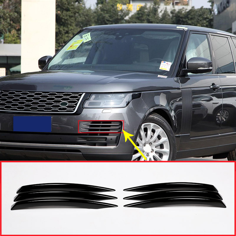 For Land Rover Range Rover Vogue 2018 Car-Styling ABS Gloss Chrome Front Fog Light Grille Cover Trim Accessories 6Pcs for land rover range rover evoque 2012 2016 car interior front dashboard edge cover frame trim abs chrome sticker accessories