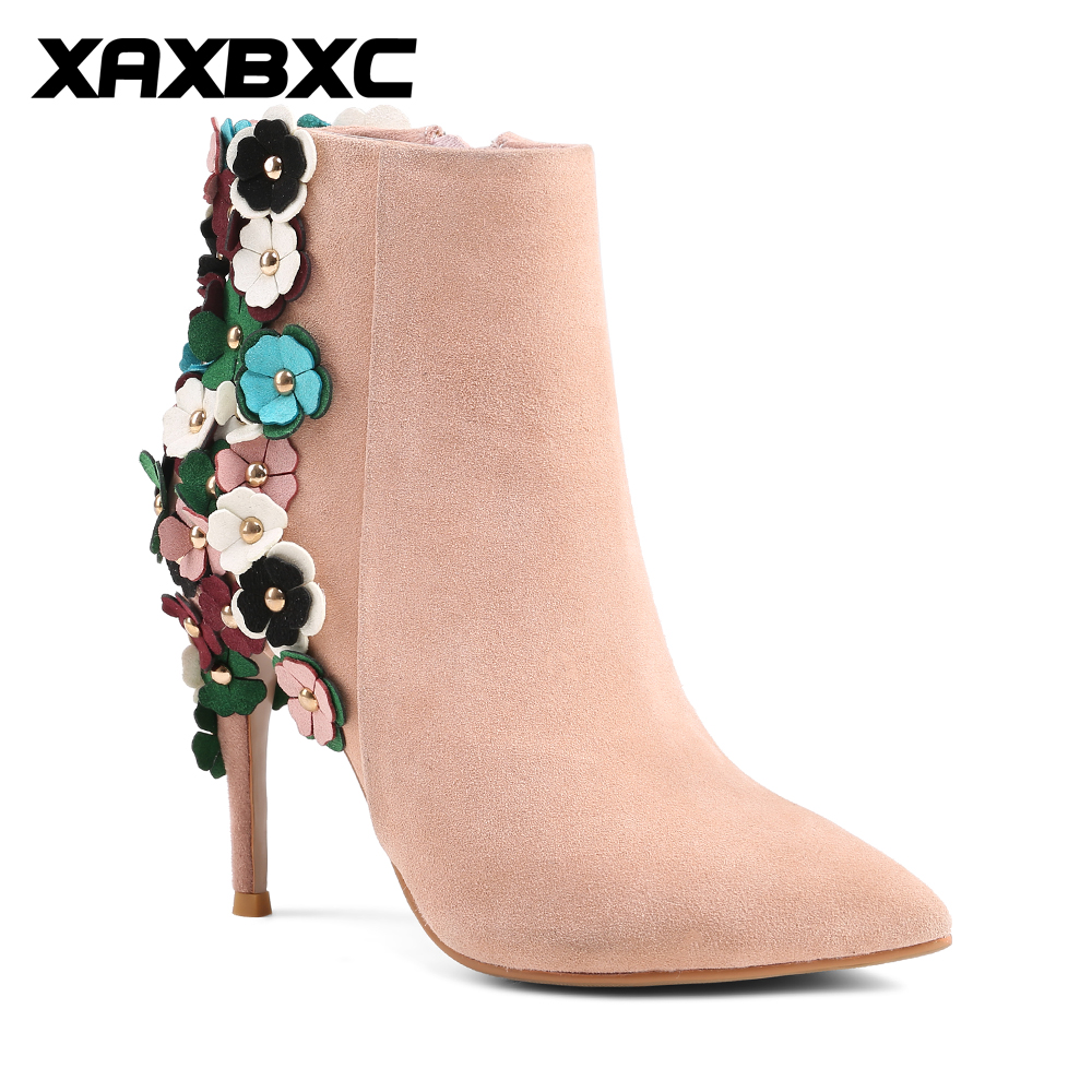 XAXBXC 2017 Retro British Winter Genuine Leather Flower High Heel Short Ankle Boots Warm Women Boots Handmade Casual Lady Shoes serene handmade winter warm socks boots fashion british style leather retro tooling ankle men shoes size38 44 snow male footwear